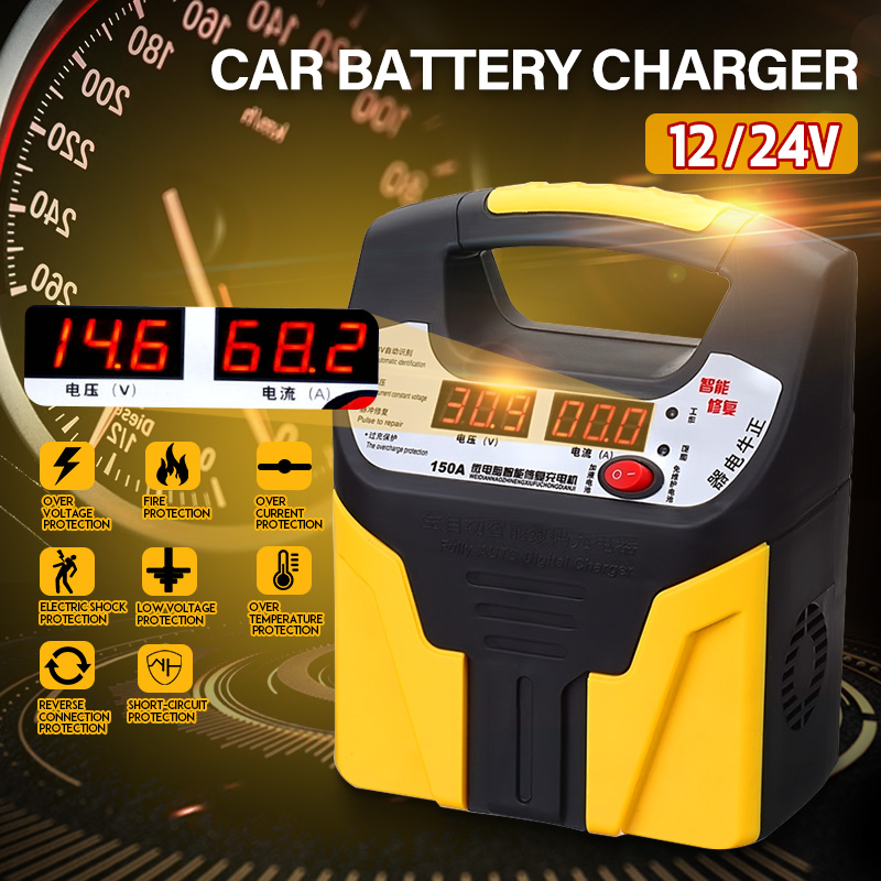 360W 110V/220V Intelligent Battery Charger 12V/24V 15A LCD Display Car Jump Starter Repair Battery Charger
