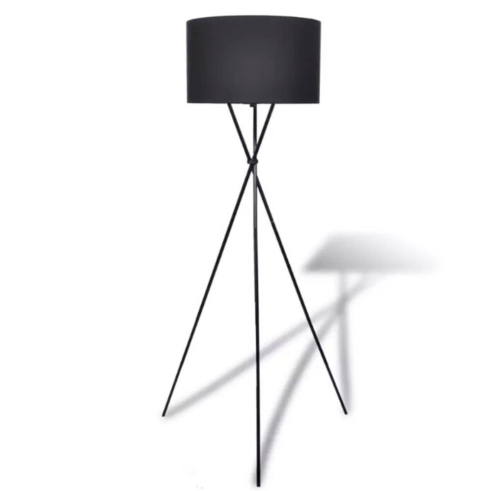 Floor lamp with lampshade high stand Black 240901