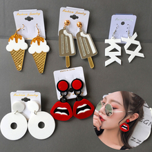 Personality letter long pendant earrings 2019 for women ice cream lip exaggerated Acrylic Drop Earring fashion Jewelry statement