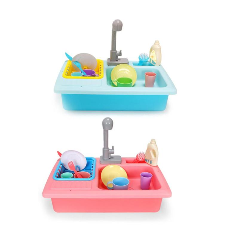 Plastic Simulation Electric Dishwasher Sink Pretend Play Kitchen Toy Set Children Kids Puzzle Early Education Toys Gifts Funny