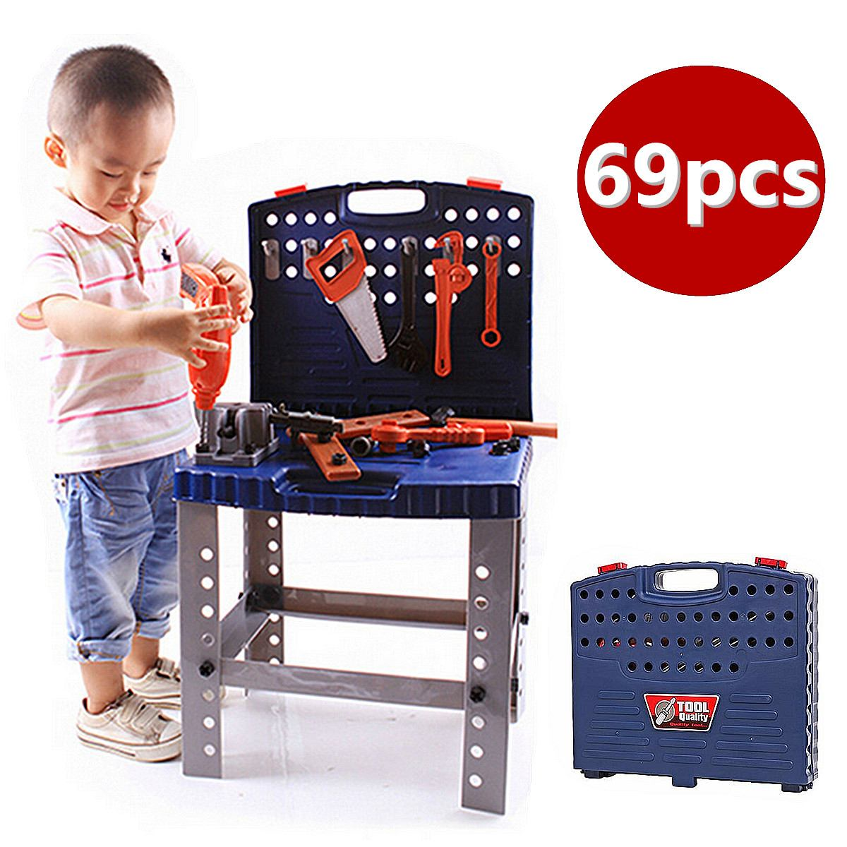 69Pcs Childrens Tool Box Foldable Work Bench With Simulation Repair Tools Set Kids Baby Role Play Toy  Mutifunctional Hand Tool69Pcs Childrens Tool Box Foldable Work Bench With Simulation Repair Tools Set Kids Baby Role Play Toy  Mutifunctional Hand Tool