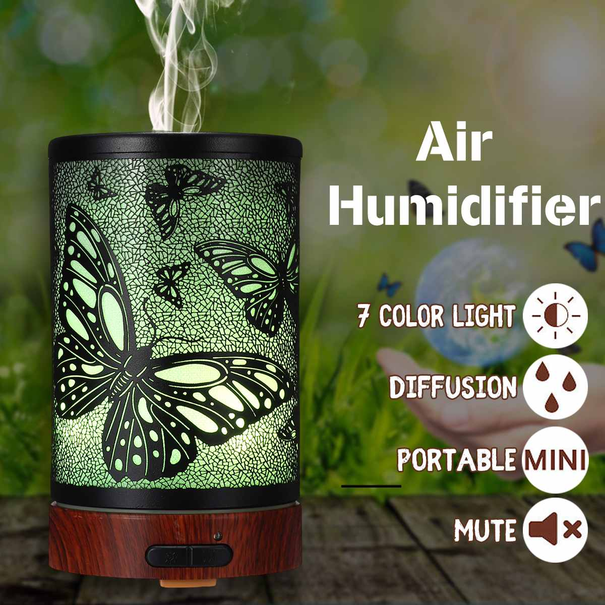 Butterfly Pattern Air Humidifier Essential Oil Diffuser Iron Art Humidificador Mist Maker LED Lamp Diffuser Aromatherapy US PlugButterfly Pattern Air Humidifier Essential Oil Diffuser Iron Art Humidificador Mist Maker LED Lamp Diffuser Aromatherapy US Plug