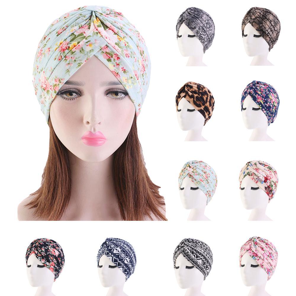 Flower Hat Women Muslim Chemo Cap India Hat Hair Loss Hat Pleated Headscarf Turban Caps Printed Islamic Bonnet Beanies Skullies