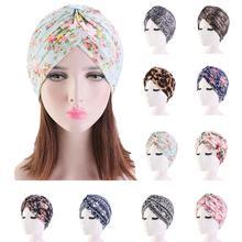 Indian Turban Muslim Women Floral Printed Hat Cancer Chemo Cap Islamic Hair Loss Cover Beanie Bonnet Head Scarf Pleated Caps Hat