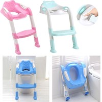 Soft Pad Baby Potty Training Seat Children's Potty Baby Toilet Seat With Adjustable Ladder Infant Toilet Training Folding Seat