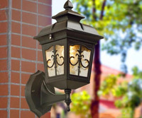 Free Shipping Outdoor Waterproof Antique Die casting Aluminum Porch Light Style Black Wall Lantern Lamp
