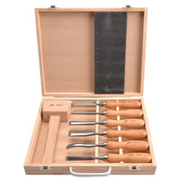 Carving Chisel Set Woodworking Chrome Vanadium Steel with Wooden Case and Wood Mallet Knife Tools