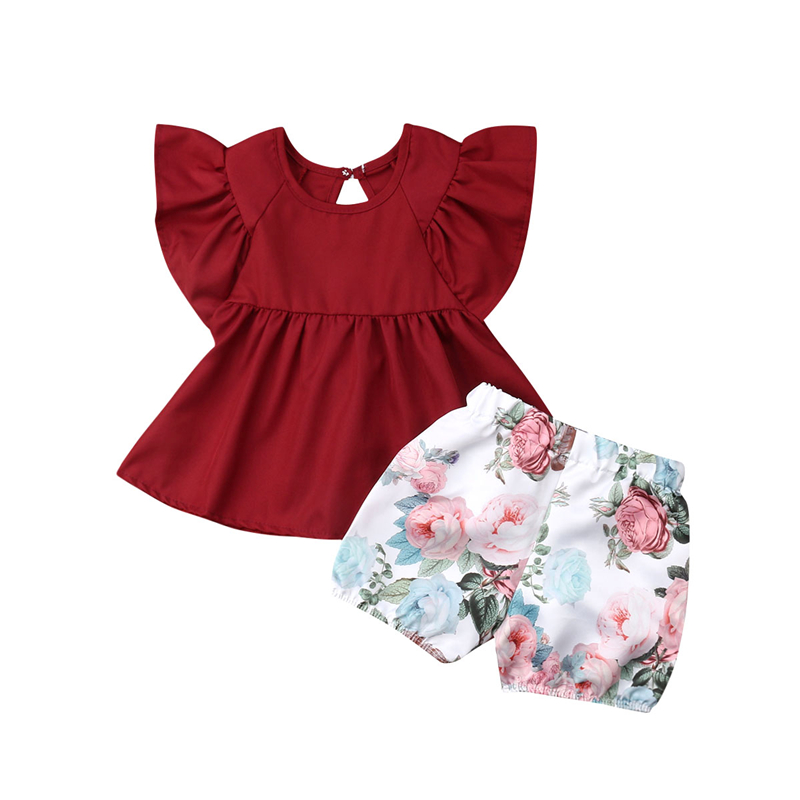 Girls Baby Clothes Summer Ruffle Tops T-shirt Floral Shorts Baby Newborn Set Cotton Girl Set Casual Infant Girl Clothing Outfits