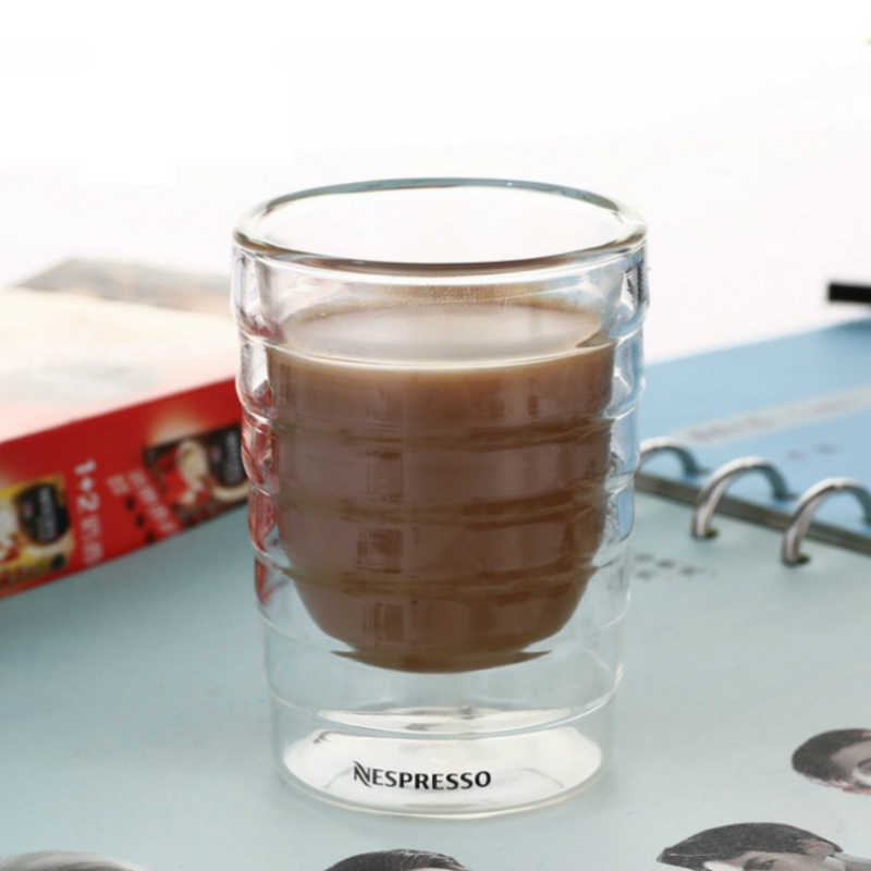 Kacamata Caneca Tangan Ditiup Dinding Ganda Whey Protein Canecas Kopi Nespresso Mug Espresso Coffee Cup Termal Kaca Teh Minuman Susu