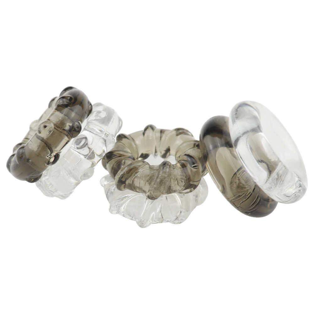 남성 섹스 토이 실리콘 시간 지연 사정 페니스 링 섹스 토이 성인 수탉 RingsProduct 남성 크리스탈 반지 색상 랜덤 1 pcs