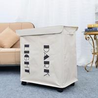 Iron Wire Frame Folding Storage Laundry Basket With Cover & Wheel White Large Capacity Storage Organizer 2019 New Arrival