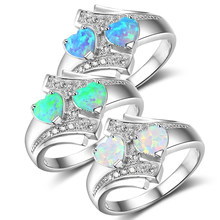 Sale Romantic Moonstone Blue Heart Fire Opal Ring Jewelry For Women Silvery Zircon Wedding Engagement Rings(China)