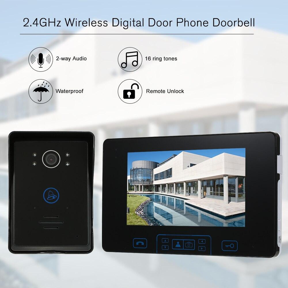 2.4GHz Wireless Digital Door Phone Doorbell Intercom System  7TFT Indoor Monitor Digital Outdoor Camera Wireless Unlock Control door wireless with monitor