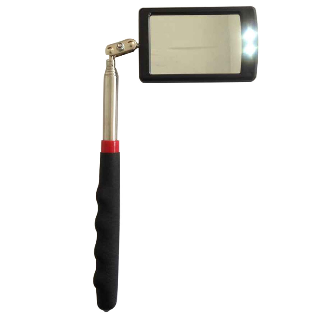 TELESCOPIC INSPECTION MIRROR 2 LED BRIGHT LIGHT EXTENDS SOFT CUSHION GRIP DIY