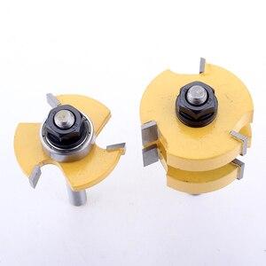 """Image 2 - Jeu de mèches de toupie 1 à 1/4 """", outil de coupe du bois, 2 pièces, tige de 8mm, pour lassemblage de la languette et de la rainure CHWJW"""