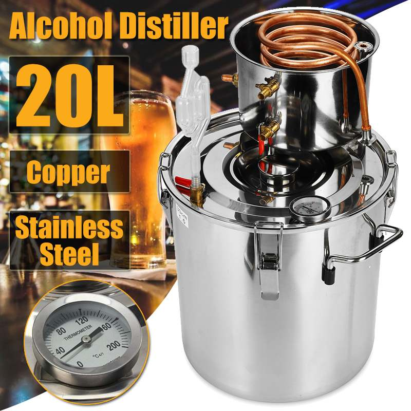 20L DIY Home Distiller Moonshine Alcohol Stainless Copper Water Wine Essential Oil Brewing Kit20L DIY Home Distiller Moonshine Alcohol Stainless Copper Water Wine Essential Oil Brewing Kit