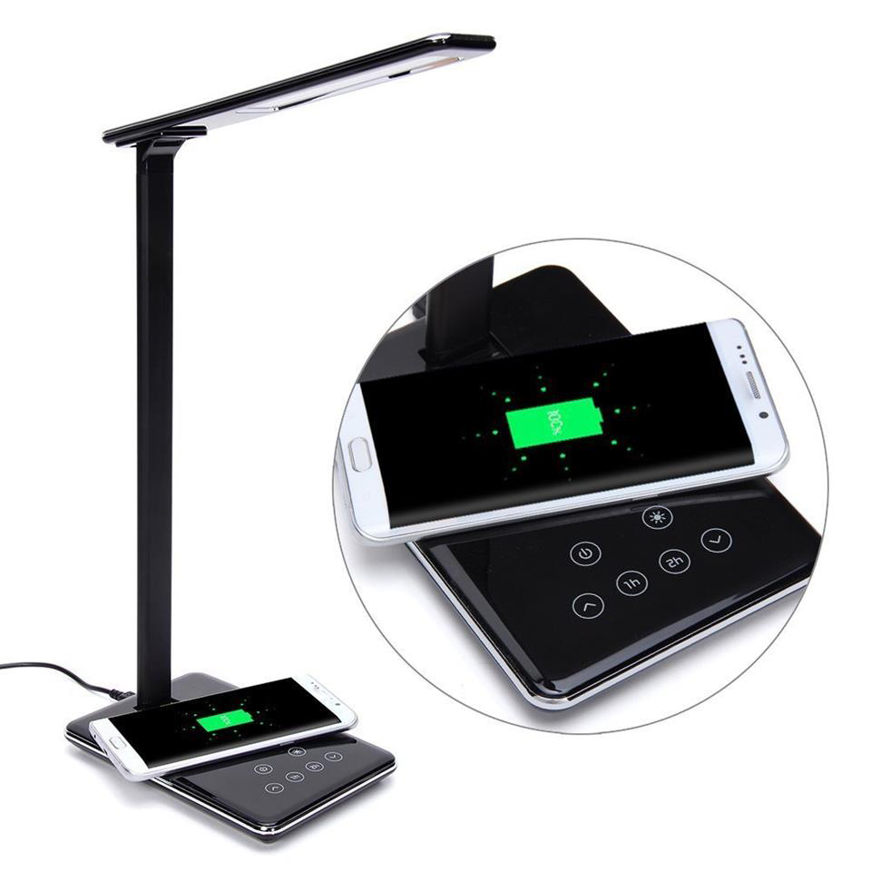 Press Control Led Desktop Lamp Qi Wireless Charging For Samsung Galaxy S7 Edge Desk Led Lamp With Qi-enabled Wireless Cha