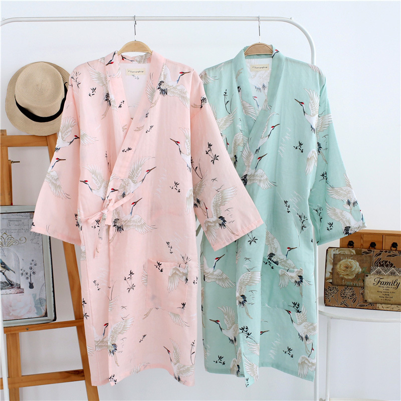 Japanese Cotton Gauze Kimono Robe Long Plus Size Tie Pajamas Bathrobe Printing Summer Cardigan Sleepwear Yukata Women's Homewear