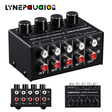 Mixer Four Channel Passive Stereo Mixer 4 Input 1 Output Mixer or 1 Input 4 Output Splitter Independent Volume Adjustment ashly protea porfessional digital speaker processor 4 8sp 4 input 8 output for big event