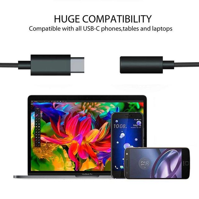 3Pcs Type C to 3.5mm Headphone Audio Adapter,USB-C to 3.5mm Female AUX Microphone Connector Cable for Motorola Moto Z, Le 2/Le