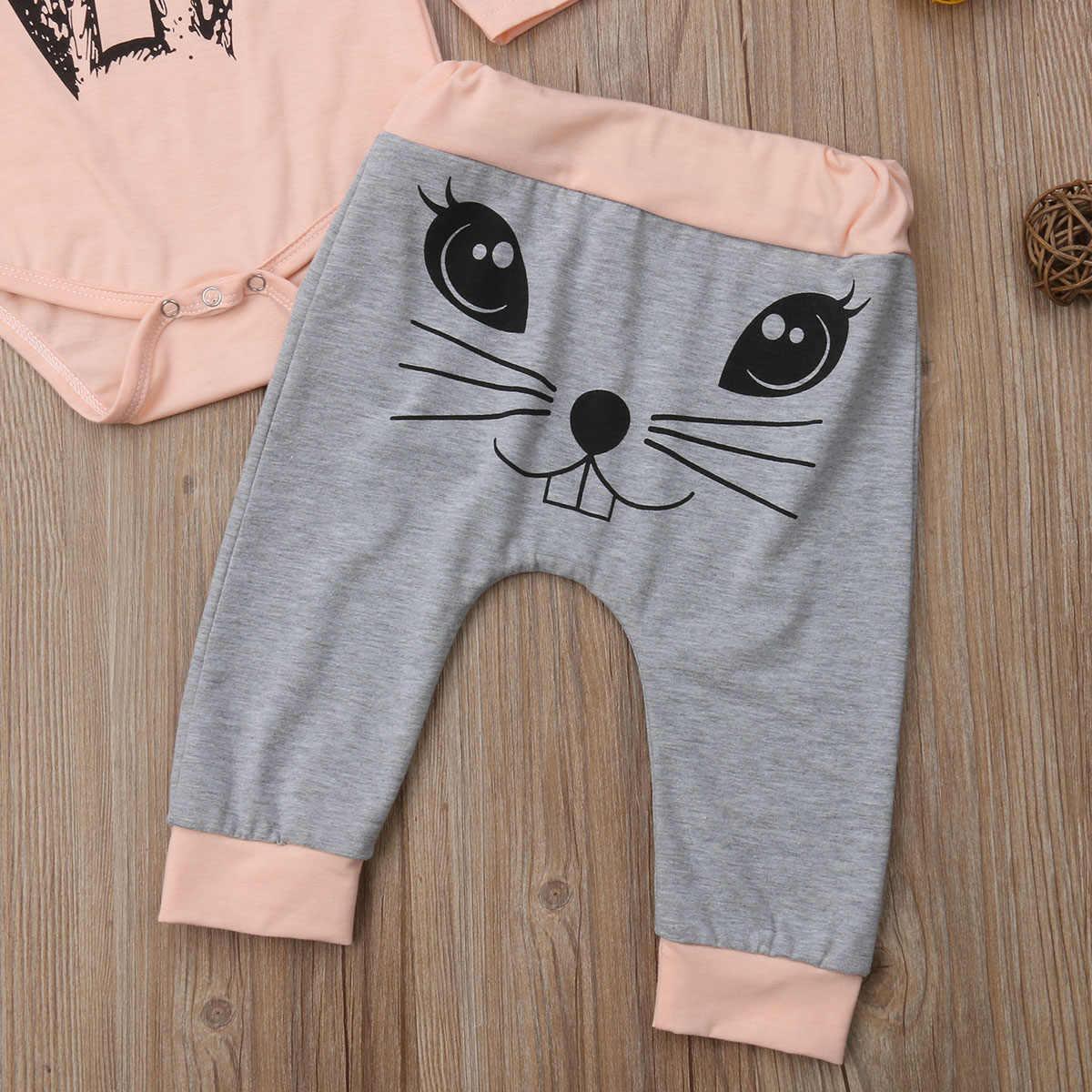 Одежда с кроликами для новорожденных девочек, комплект осенней одежды с рисунком, розовый комбинезон с длинными рукавами + серые штаны, комплект детской одежды для девочек