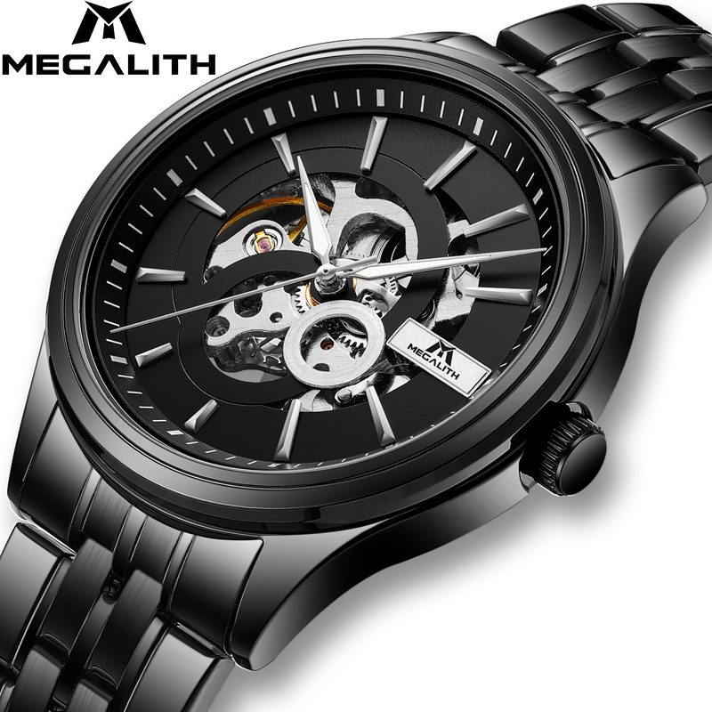 MEGALITH Fashion Luxury Top Brand Watch Men Automatic Mechanical Mens Watches Business Steel Strap Skeleton Wristwatch ClockMEGALITH Fashion Luxury Top Brand Watch Men Automatic Mechanical Mens Watches Business Steel Strap Skeleton Wristwatch Clock