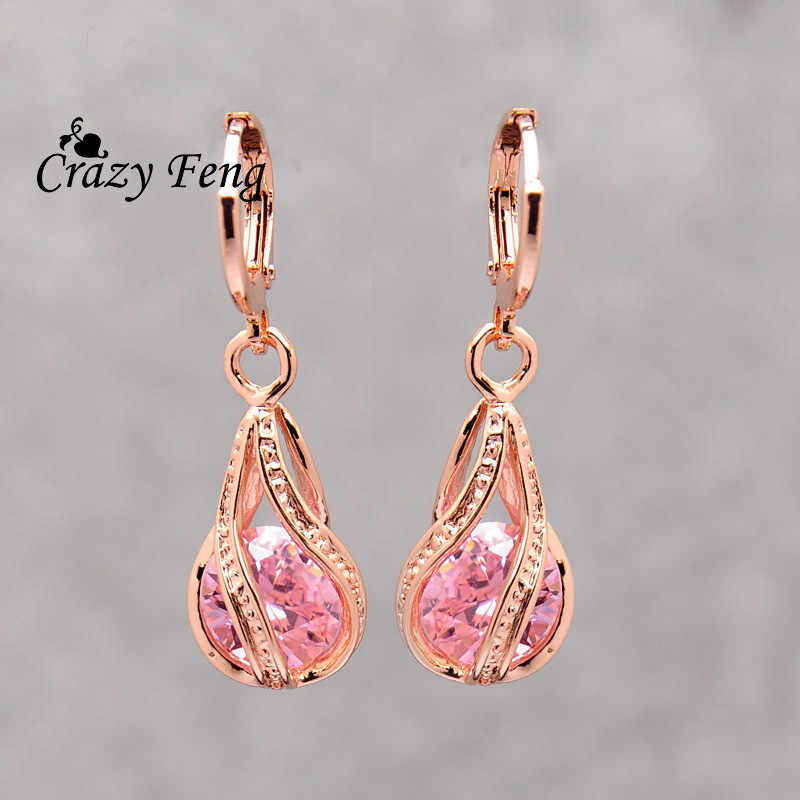 Free shipping Fashion New Women/Girl's Gold-color 4 Colors CZ  Pierced Dangle Drop Earrings Jewelry Mother's Day Gift