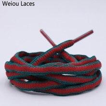 Weiou 6 мм овальные зеленые красные двухцветные полиэфирные шнурки для ботинок полукруглые шнурки модные шнурки пластиковые наконечники для обуви кроссовки