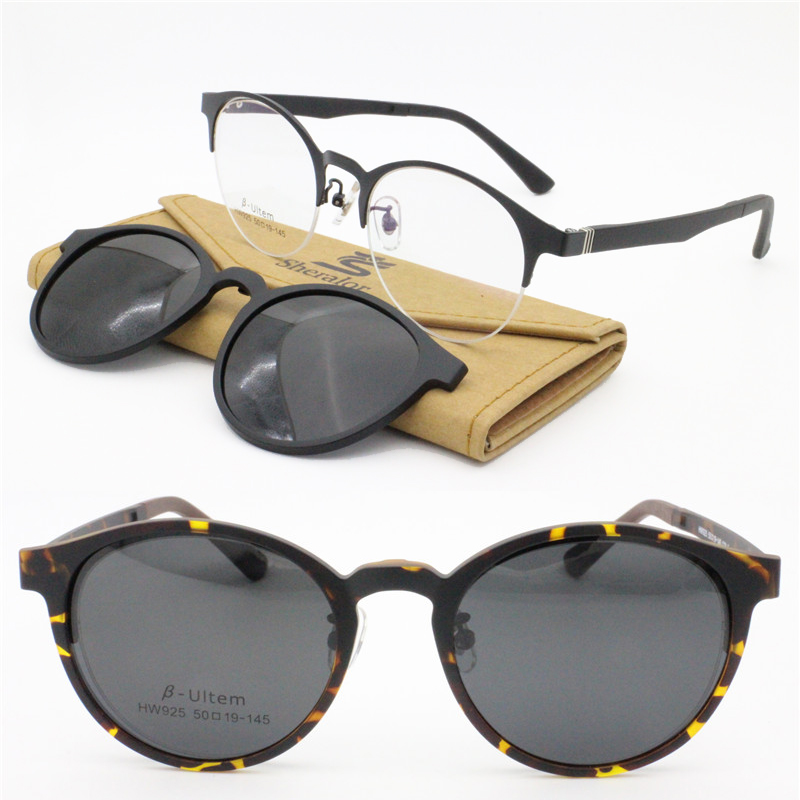 1a8a6783bd oval shape metal combined acetate prescription glasses with megnatic clip  on removable polarized sunglasses lenses for