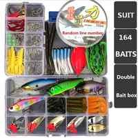 Juego de 164 Uds. De accesorios de cebo de Pesca para agua dulce y salada + 2 uds caja de cebo aparejo herramientas de Pesca