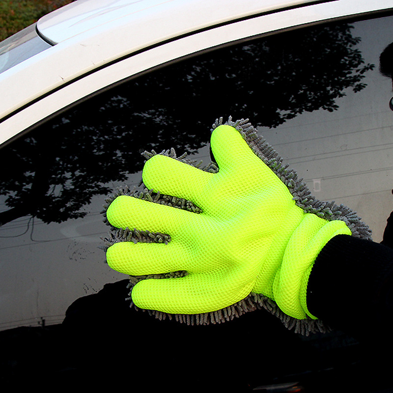 Car Wash Gloves Fine Wool Chenille Finger Microfiber Glove Cleaning Mitt Washing Brush Cloth Tools