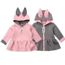 Baby Girls Autumn Winter Coats Toddler Kids Cute Rabbit Ear Hoodies Jac