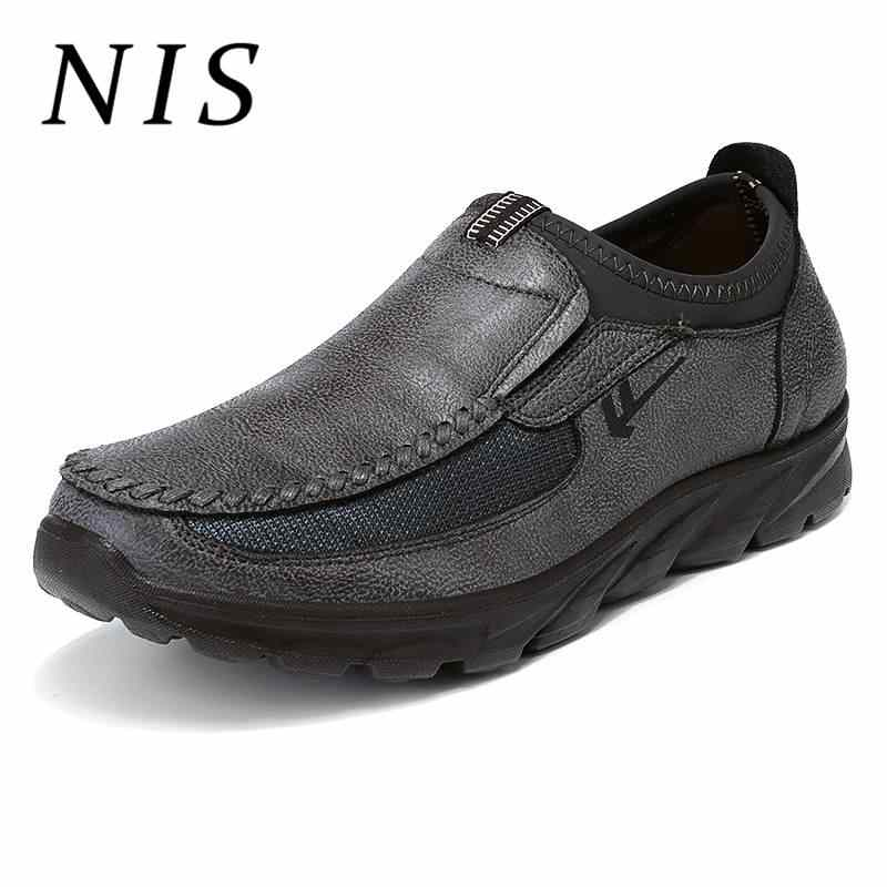 NIS ขนาดใหญ่ Eur39-48 Casual Loafers ผู้ชายแบนรองเท้า PU หนัง Slip On Breathable Antiskid รองเท้ารองเท้าผู้ชายรองเท้าผ้าใบ