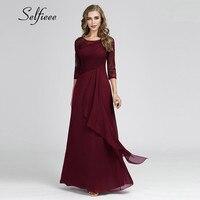 Elegant Summer Beach Dress A Line Three Quarter Sleeves Long Chiffon Boho Dresses Burgundy Green Plus Size Lace Ruffles Dress