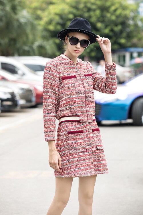 Mini Manteau 2018 Tweed Bonbons Vintage Conception Couleur Costumes Et Hiver Originale Ensembles Élégant Femmes Jupe Automne Survêtement OAOwBqxg