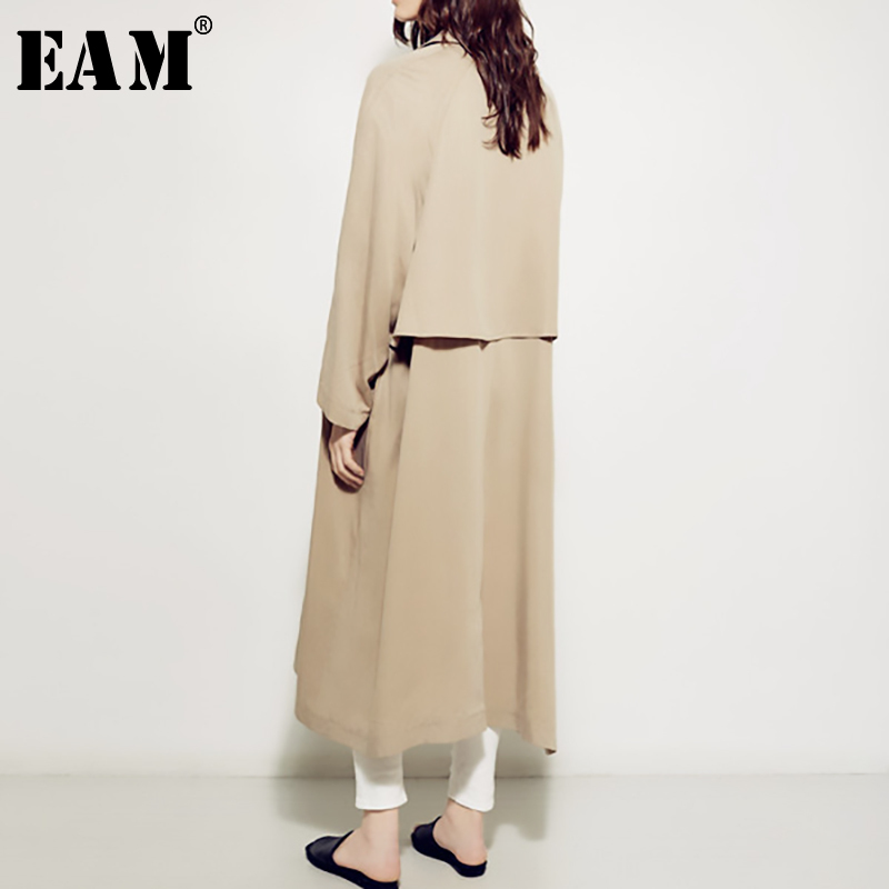 [EAM] 2019 New Spring Summer Lapel Long Sleeve Brief Long Single Breasted Loose Windbreaker Women   Trench   Fashion Tide JS676