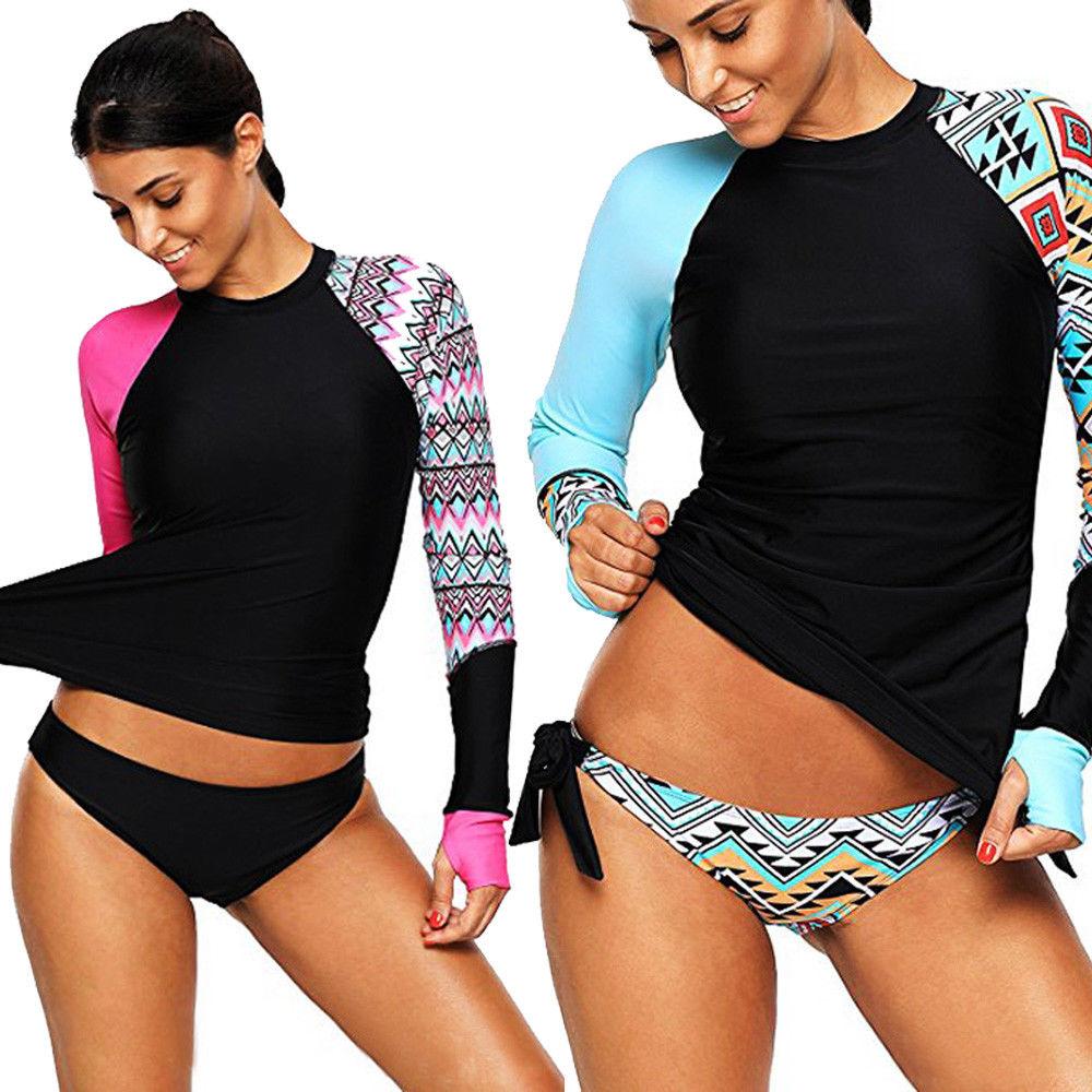New Brand Striped Long Sleeve Tops+Bottoms E Summer Womens Bikini Set Surfing Bandage Bathing Swimsuit Swimwear Beachwear