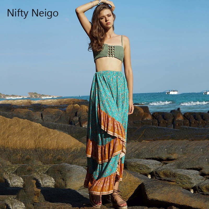 Nifty Neigo Bohemian Women Skirt Asymmetric Ruffled Pleated Skirt Summer Sexy Skirts Beach Wear