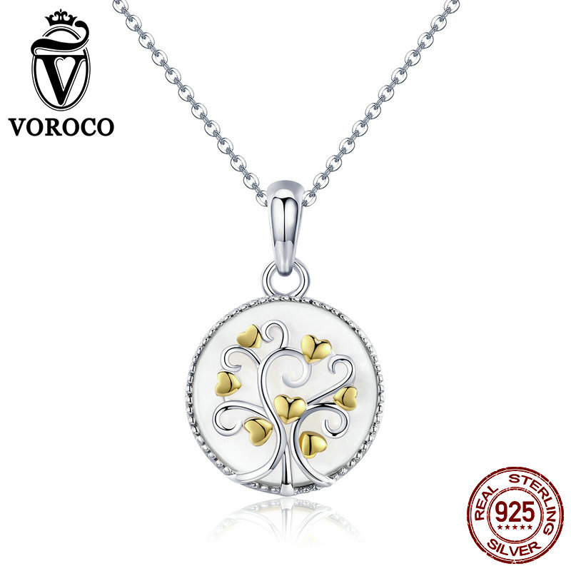 2018 VOROCO 925 Sterling Silver Tree Of Life Pendant Necklaces For Women Chokers Necklace Fine Jewelry Female Gift BKN296