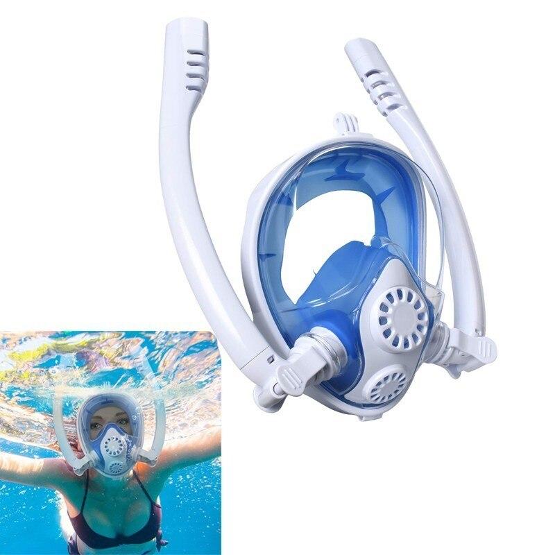 Masque de plongée sous-marine Anti-buée masque de plongée complet masque de plongée masque respiratoire avec 2 tuba de masque de natation ensemble