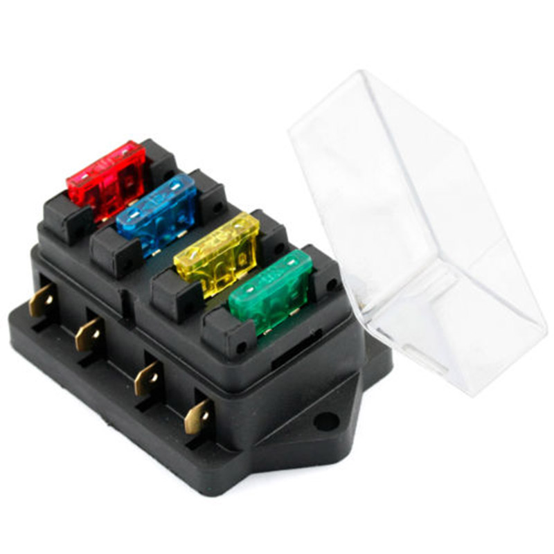 New Car Truck Auto Blade Fuse Box Holder Circuit Standard ATO +4X Fuse  Waterproof Vehicle Truck Boat 4 Way Blade Fuse Box Holder Fuses  -  AliExpressAliExpress
