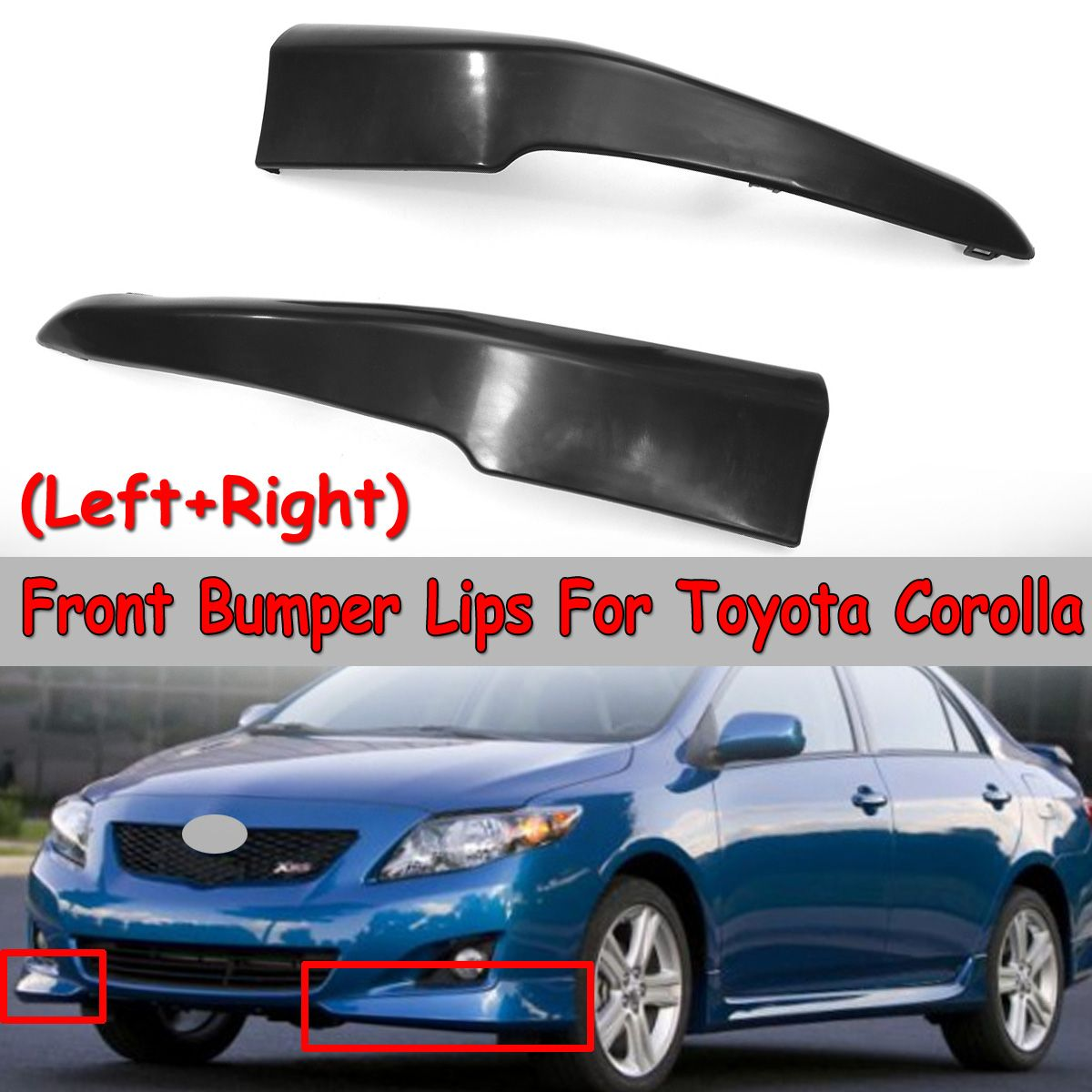 New 2x Car Front Bumper Corolla Splitter Lips For Toyota Corolla 2009 2010 S Factory Style