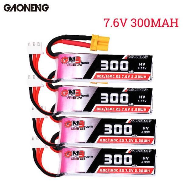 1 pièces/4 pièces Gaoneng 7.6 V 300 mAh 80C/160C 2 S HV 4.35 V XT30 Lipo batterie pour BETAFPV Whoop quadrirotor RC modèles pièce de rechange bricolage Accs