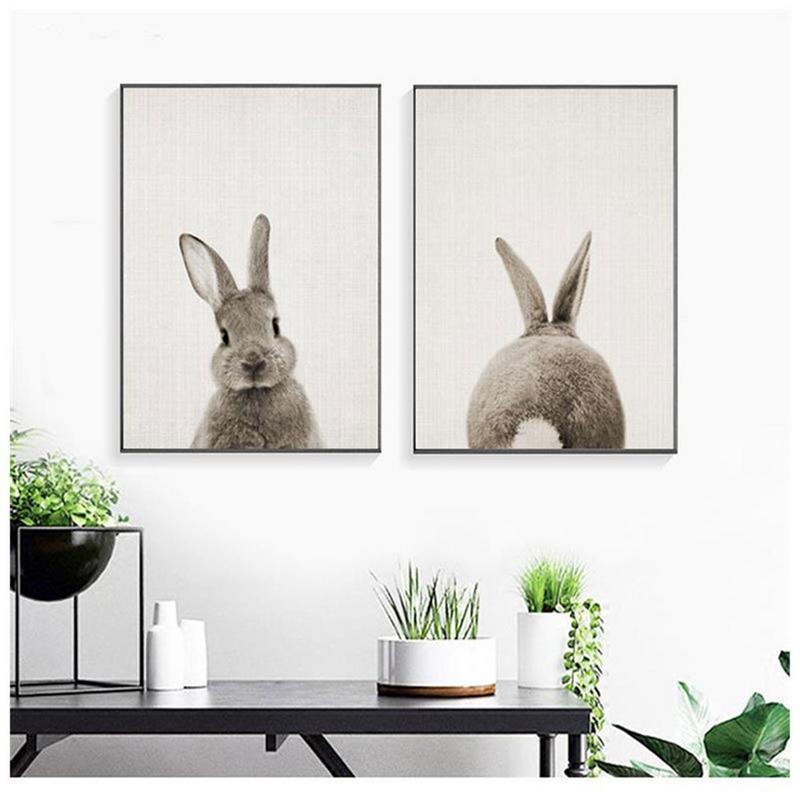 Черный белый ребенок Животное Кролик хвост холст искусство печать и плакат для детской Банни холст живопись для детской комнаты скандинавс...