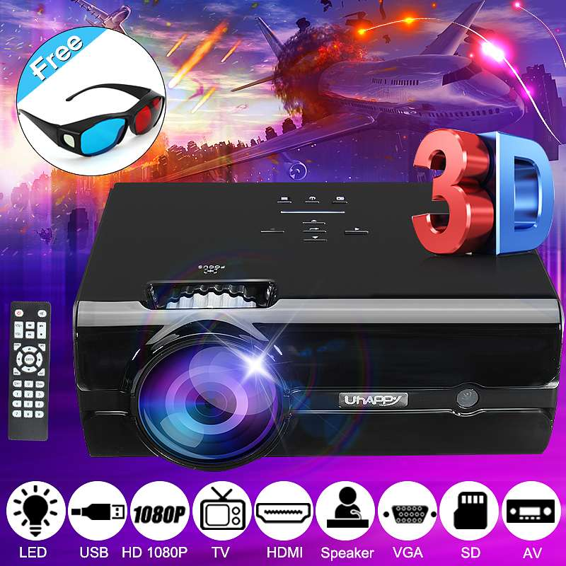 7500 Lumens LCD LED Projector Resolution Support 1080P HD Office Home Cinema Home Theatre System with 3D glasses
