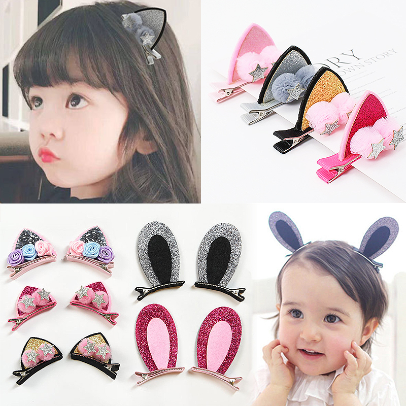 Cat Rabbit Ears Kids Hairpins For Girls 2pcs/Pair   Headwear   Cute Children Hairball Glitter Hair Accessories Flowers Hair Clips