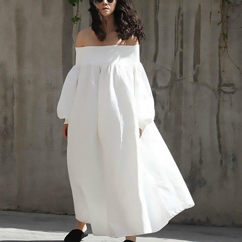 Deat 2020 Me Stesso Che Indossa Estate Slash Collo Manica Lunga Bianco Allentato di Grande Formato Lungo di Temperamento Delle Donne Del Vestito Fresco E Stange - 2