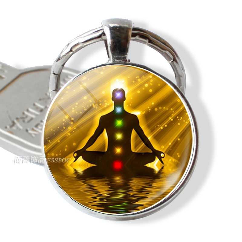 7 chakra yoga om símbolo chaveiro pingente masculino feminino vintage chaveiro chaveiro do carro anéis indianos meditação jóias