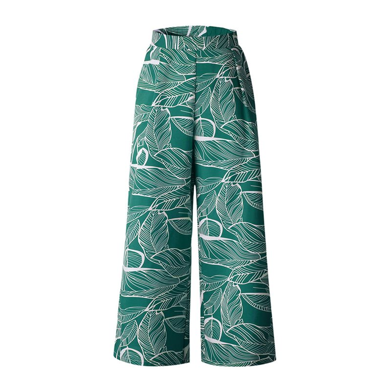 Spring 2019 Casual Pants Women Boho Fashion Leaves Print Green Beach Loose Trousers Red Street Travel Goth Black Wide Leg Pants