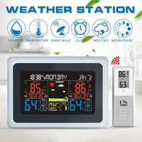 7inch LCD Digital Wall Weather Station wave Indoor Outdoor Clock Temperature Humidity Pressure Wind Weather Moon phase Forecast